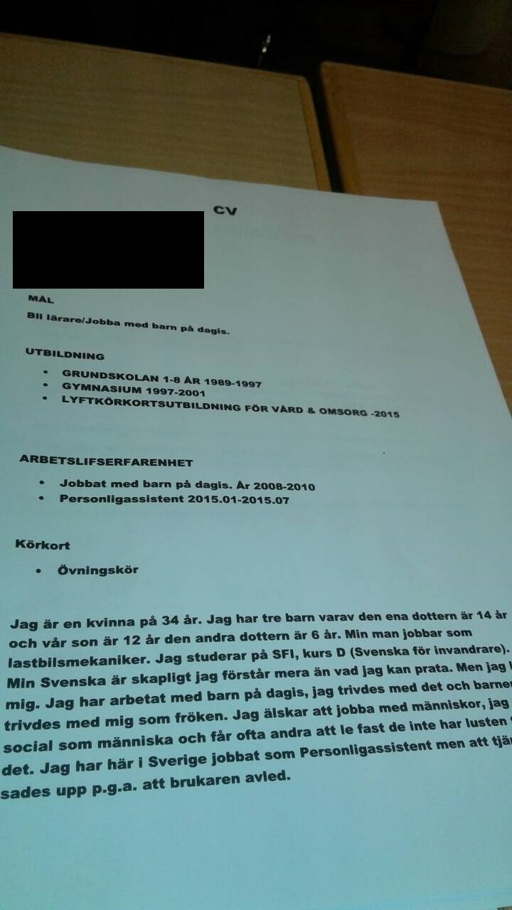 Cv For Forsta Gangen Hjalp Svenska Grundskola Pluggakuten