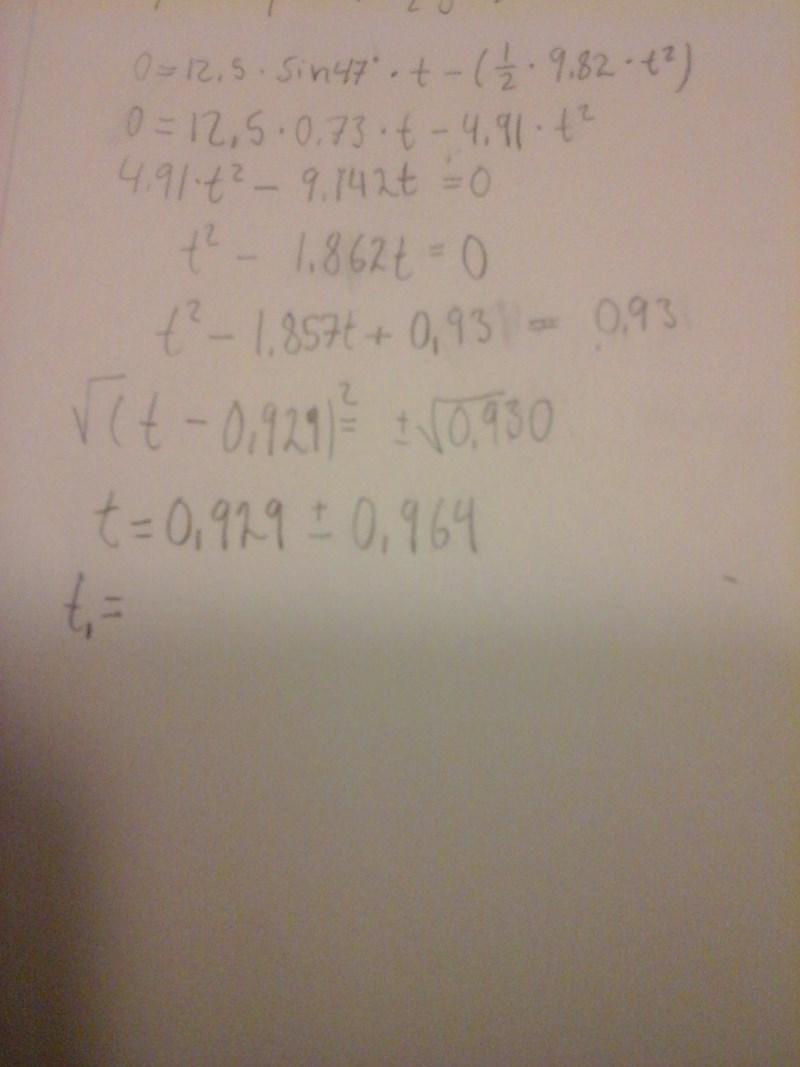 6c751df2a73 0 = 12,5 × sin(47) × t - (0,5 × 9,82 × t ^(2)) (ekvation) (Matematik ...